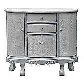 Chaandhi Kar White-Silver Embossed Chest of Drawers Width: 86.5cm
