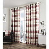 Fusion Balmoral Check Ruby Lined Curtains -66x54 Inches