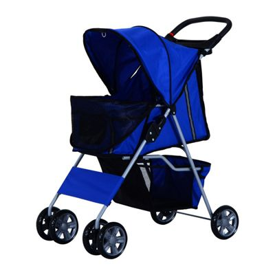 PawHut Pet 4 Wheels Travel Stroller Dog Pushchair Trolley Puppy Jogger Folding Carrier (Blue)