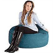 Lounge Pug® 2 in 1 Extra Large Bean Bag Chair & Pouffe - Cord Aegean Blue
