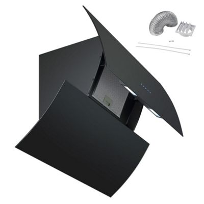 Cookology PREM900BK 90cm Automatic Opening Extractor Fan | Black Glass Designer Angled Cooker Hood & Ducting Kit