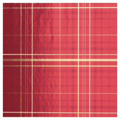 Tesco Red Tartan Christmas Wrapping Paper, 4m