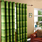 """Homescapes Cotton Morocco Striped Green Curtain Pair, 66 x 90"""" Drop"""