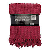 Country Club Luxury Woven Chenille Throw 127 x 152cm, Red