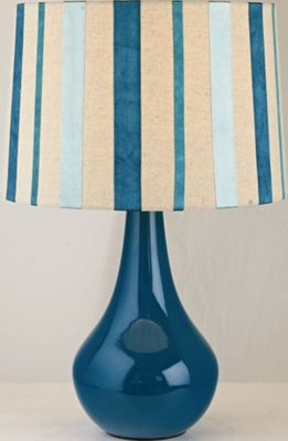 The Lighting & Interiors Group Ribbon Table Lamp - Natural Linen/Ribbon - Teal