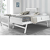 Happy Beds Toronto White Wooden Guest Bed and Trundle 2 Orthopaedic Mattresses 3ft Single