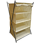 Ambry - Pop Up Folding 4 Tier Storage Shelf With Canvas Cover - Cream