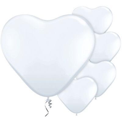 White Heart 11 inch Latex Balloons - 100 Pack