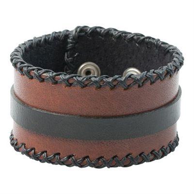 Franklin Brown & Black Leather Wristband Men's Bracelet 40mm