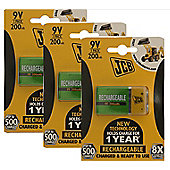 3 x JCB Pre-Charged 9V Batteries 200MAH Rechargeable High Capacity Ready To Use