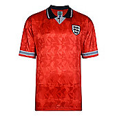 Score Draw England 1990 World Cup Mens Away Football Shirt Red - S - Red