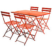 Charles Bentley 4 Seater Rectangular Folding Dining Set Patio Furniture - Orange