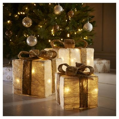 Cream and Gold LED Christmas Parcels, 3 pack