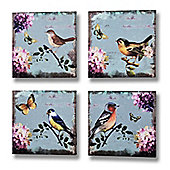 Set of 4 Birds and Butterflies Canvases
