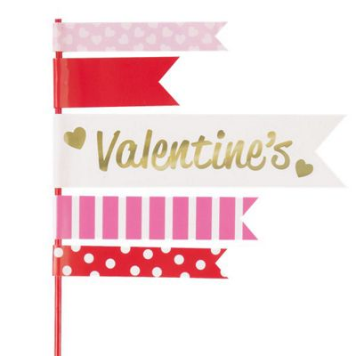 Valentines Flag Cake Toppers