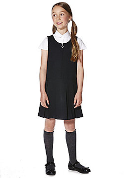 "F&F School Girls Teflon EcoElite""™ Permanent Pleat Pinafore - Navy"