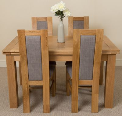 Richmond medium Extending Solid Oak Dining Table & 4 Solid Oak Fabric Chairs