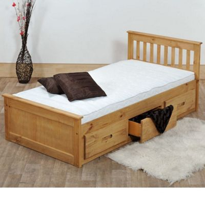 Happy Beds Mission Wood Storage Bed with Open Coil Spring Mattress - Waxed Pine - 3ft Single