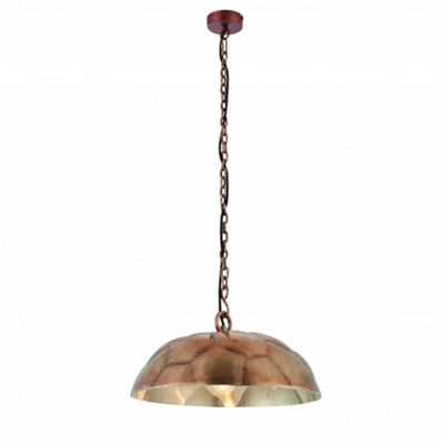 Antique Copper Effect Plate & Brushed Aluminium 1lt Pendant 40W