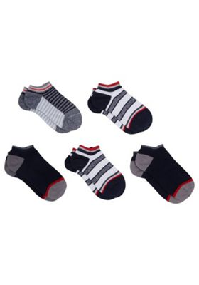 F&F 5 Pair Pack of Striped Trainer Socks Multi Child Shoe 6-8 1/2