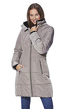 F&F Shirred Waist Hooded Padded Coat - Mink