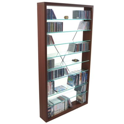 Techstyle CD / DVD / Media Glass Storage Shelves - Dark Oak