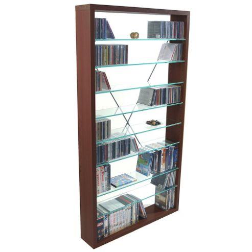 Techstyle CD / DVD / Media Glass Storage Shelves - Dark Oak