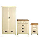 Norfolk Bedroom Set (Double Wardrobe with Drawer, Chest of Drawers & Bedside Table), Cream