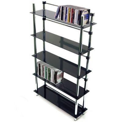 Techstyle 5 Tier DVD / CD / Media Storage Shelves - Black