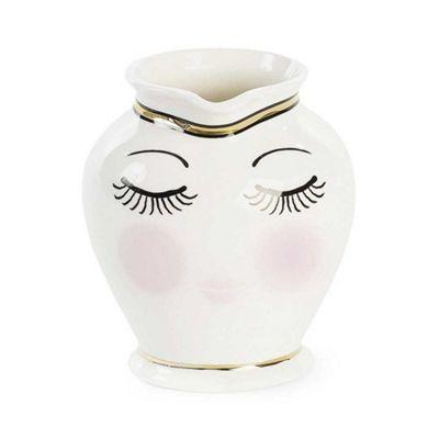 Miss Etoile Coffee Tea Milk Jug Ceramic Eyes Closed