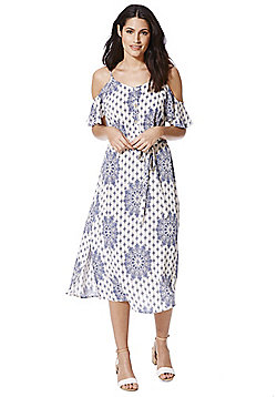 F&F Paisley Print Cold Shoulder Midi Dress - Blue & White