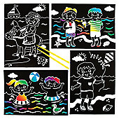 Seaside Scratch Art Scenes for Children to Design Make and Display - Creative Picture Craft Set for Kids (Pack of 6)