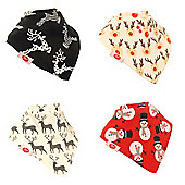 Award Winning, Gift Boxed, Baby Unisex Bandana Dribble Bib 4 pack Christmas 2017 Set by Zippy