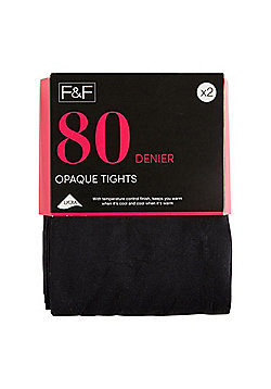 F&F 2 Pack of 80 Denier Temperature Control Opaque Tights - Black