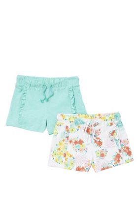F&F 2 Pack of Tropical Print and Plain Jersey Shorts Multi 12-18 months