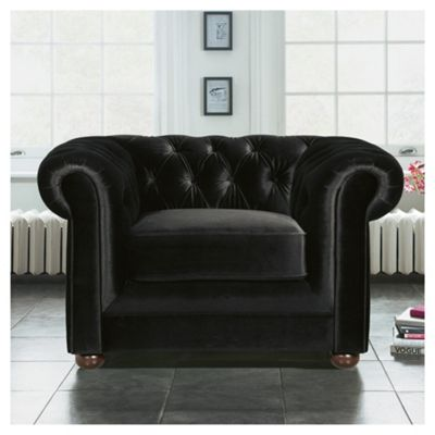 Chesterfield Velvet Effect Armchair, Black