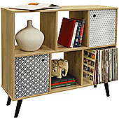 Retro - Open Sideboard Cube Shelving / Lp Vinyl Storage - 2 Doors