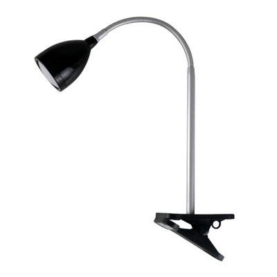 KLO 4W LED Flexi Neck Clip On Desk Table Lamp, Gloss Black & Chrome