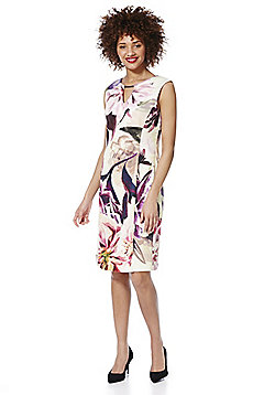 Roman Originals Floral Print Scuba Pencil Dress - Pink