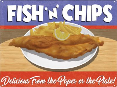 Fish 'n' Chips Tin Sign 40.7x30.5cm,