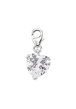 Rhodium Coated Sterling Silver CZ Solitaire Heart Charm