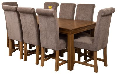 French Rustic 180cm Solid Oak Dining Set Table & 8 Grey Fabric Chairs