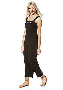 Fashion Union Embroidered Crinkle Jumpsuit - Black