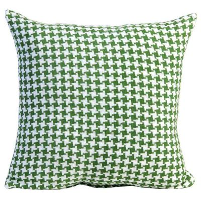 Homescapes Houndstooth 100% Cotton Cushion Cover Green, 60 x 60 cm