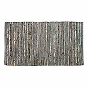 Homescapes Denver Leather Woven Rug Grey, 90 x 150 cm