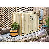 Double Redwood Pressure Treated Wheelie Bin Store - 240 Litre Bins