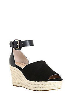 F&F Sensitive Sole Faux Suede Espadrille Wedges - Black