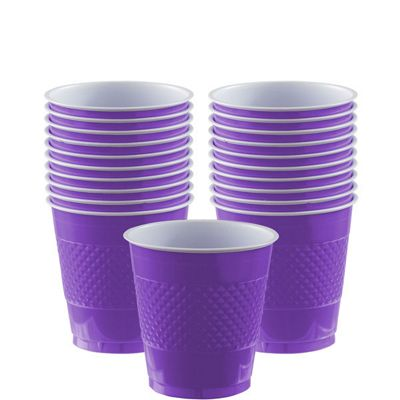 Purple Cups - 266ml Plastic Party Cups - 20 Pack