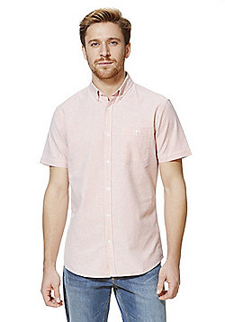 F&F Striped Short Sleeve Oxford Shirt - Pink