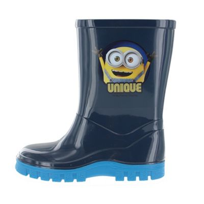 Boys Minions Despicable Me Blue Welly Wellington Boot UK Size 6